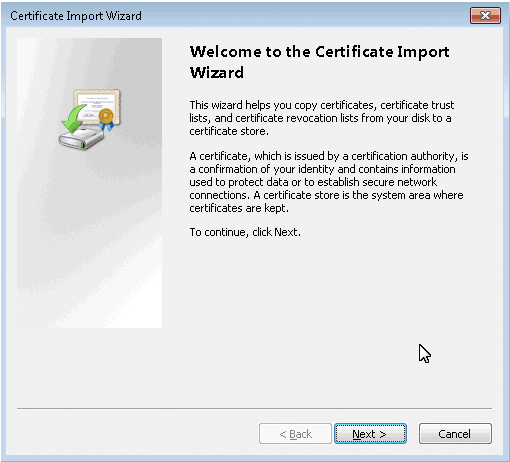 Certificates Import Wizard