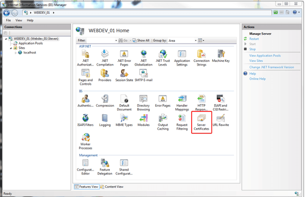 iis manager select server certificate