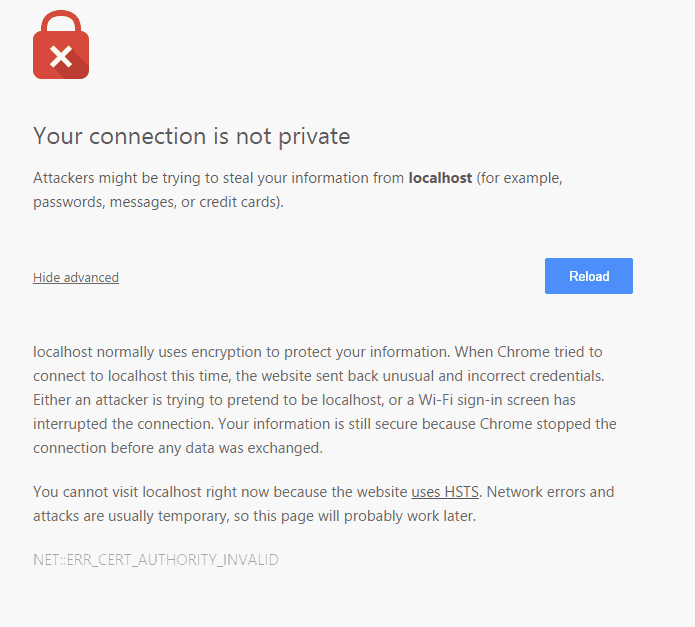 your connection is not private - chrome error