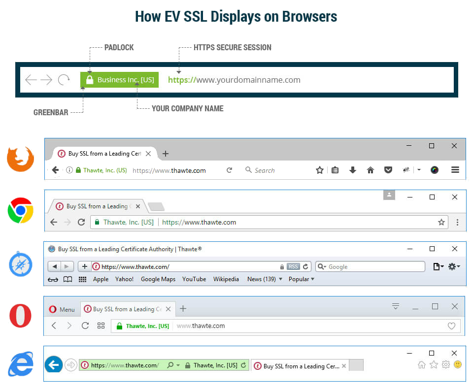 how ev ssl display website in browser