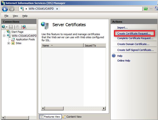 create certificate request