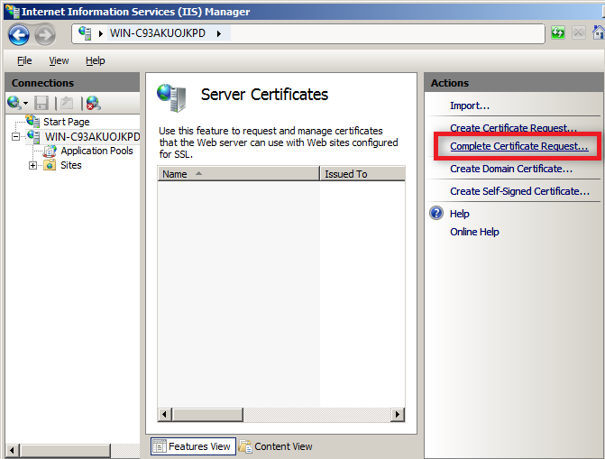 completed certificate request