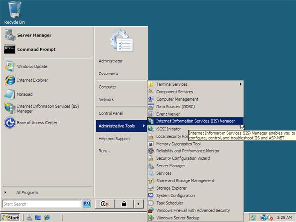 open internet information server manager