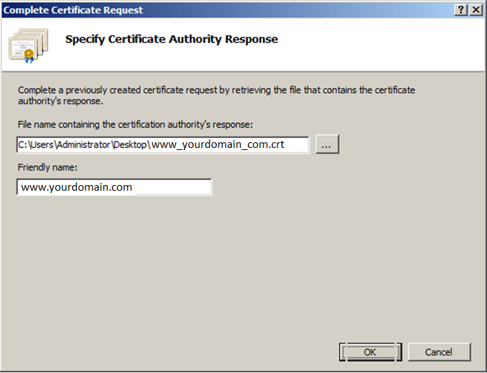 complete certificate request wizard