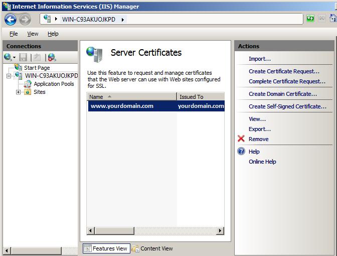 select iis server certificate