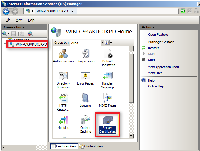 select server certificate