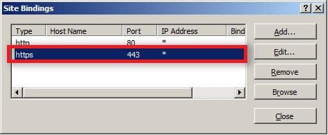 site binding settings