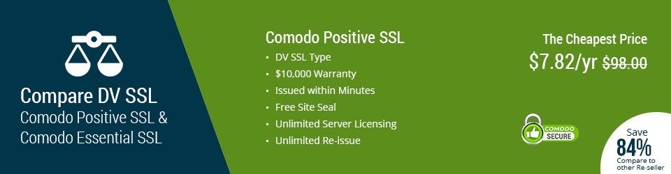 Compare DV SSL: Comodo Positive SSL vs Comodo Essential SSL