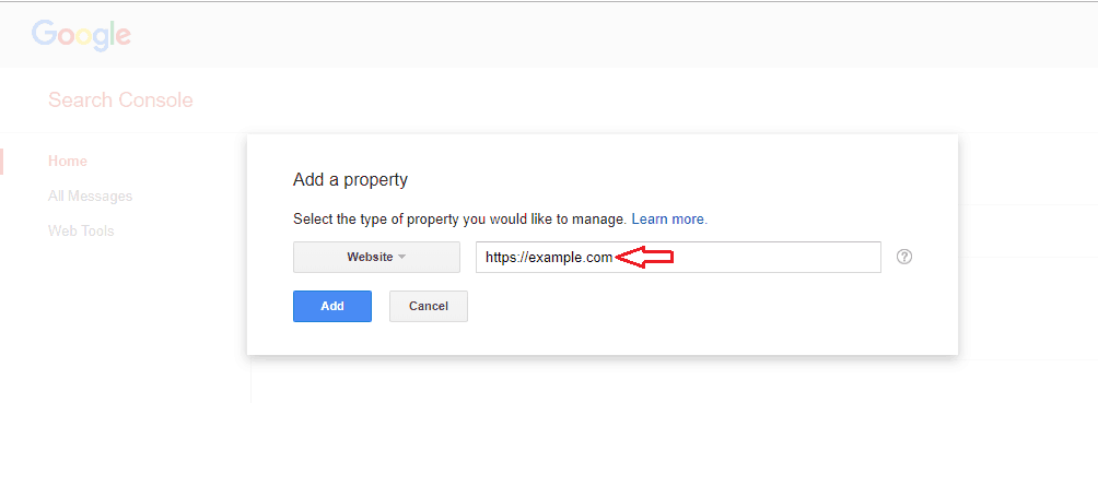 add property on google search console
