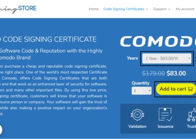 Comodo Code Signing screenshot - codesigningstore.com