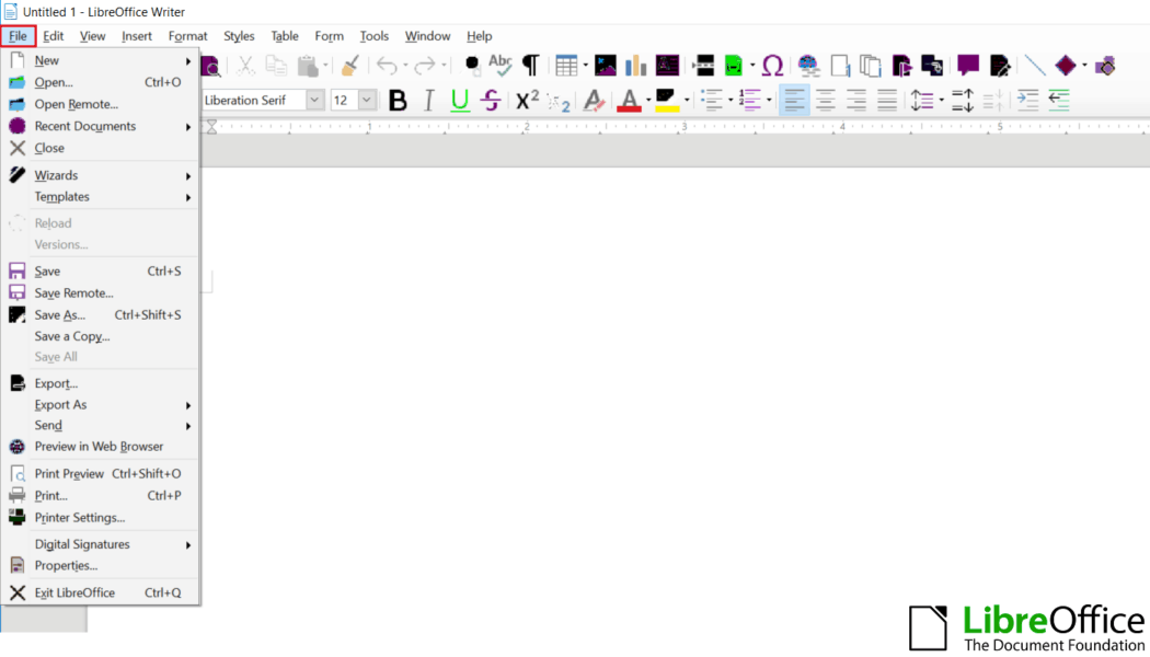 LibreOffice file options