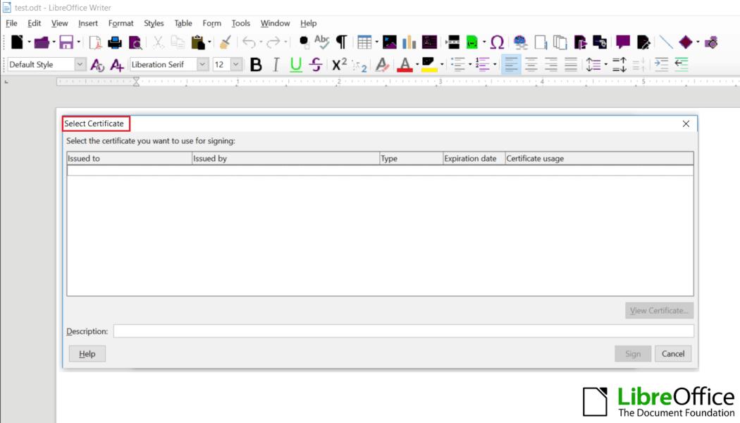 libreoffice select ssl certificate