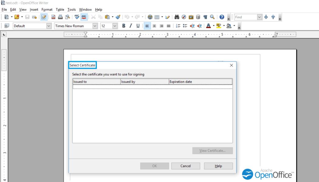 select-certificate-openoffice