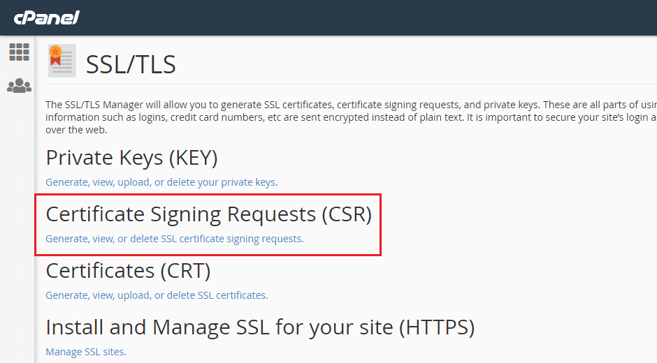 c-panel-ssl-tls-csr