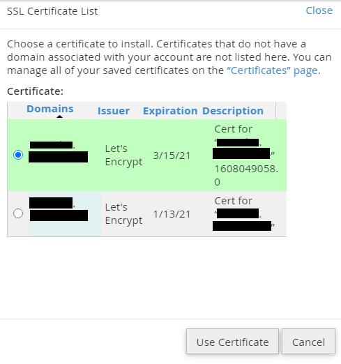 ssl certificate list