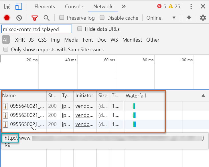mix content displayed